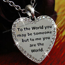 "20"" Romantic 2 Sided Worded Heart Love Wife Lady Women Necklace Anniversary Gift"