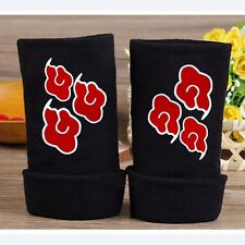 Anime Naruto Red Cloud Logo Half Finger Glove Cotton Mitten Cosplay Winter Gifts