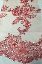 Coral Lavish 3D Flowers Embroider With Sequins And Beaded On A Mesh Lace -yd