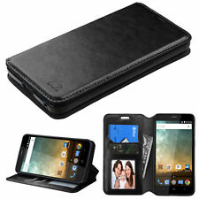 NEW FOR ZTE Sonata 3 CRICKET PHONE BLACK WALLET LEATHER ACCESSORY COVER CASE