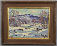 Antique Michael Peters Impressionist New England Winter Landscape Oil Painting