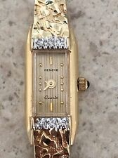 Geneve Women's 14k Solid Yellow Gold Nugget Style Quartz Watch with Diamond