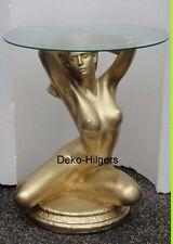 Tisch Frau Akt Glas Couchtisch Beistelltisch Dekoration Figur Skulptur Gold F50