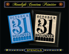 Halloween Stencil~OCTOBER 31 HALLOWEEN~Classic Vintage Style Font Crows