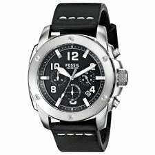 Fossil FS4928 Men's Chrono Black Dial Black Leather Strap Watch
