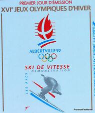 Yt 2675 A SKI VITESSE   FRANCE JEUX OLYMPIQUES ALBERTVILLE FDC ENVELOPPE 1° JOUR