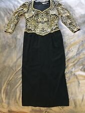 BLACK TIE by OLEG CASSINI Vintage Beaded FORMAL DRESS