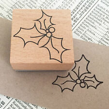 Christmas Holly Outline Wooden Printing Stamp Xmas Craft Tags Wrapping Cards