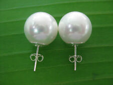 REAL925 sterling silver Seashell Pearl HUGE 14mm White Studs Earring- GIRL WOMEN