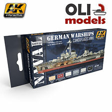 WWII German Warships Camouflages Acrylic Paint Set 6x17ml - AK Interactive 559