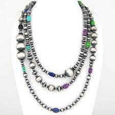"""Southwestern Navajo Pearls Sterling Silver 4-16mm Beaded Necklace 60"""" 