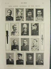 1900 VICTORIAN BOER WAR PRINT GENERALS AT THE FRONT HUTTON DOUGLAS BOYES CAMPELL