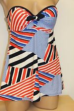 New Tommy Hilfiger Swimsuit 1 one piece attached Dress Size 6 Navy Strapless