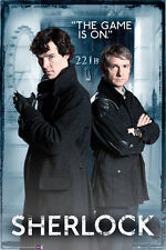 "Sherlock poster - Door 221b ""THE GAME IS ON"" - SHERLOCK BBC TV series poster"