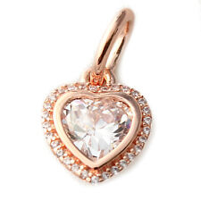 Rose Gold Heart Pendant 925 Solid Sterling Silver Sparkling Love Bead Charm