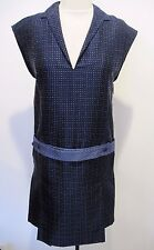 PORTS 1961 Navy Polka Dot Sleeveless Silk Dress w/ attached Belt Pleated Size 2