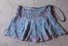 """French Connection Pure Silk Skirt 12 Floaty Flippy Lilac & Turquoise Length 16"""""""