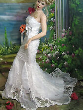 DESIGNER Trumpet MERMAID white WEDDING gown LACE Beads ORGANDY Bloomingdale's 4
