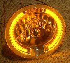 "7"" SNAKE EYE Street Hot Rat Rod H4 Headlight w/ Amber Halo LED Turn Signals"