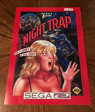 "Night Trap Sega CD red box art 1992 version retro video game 24"" poster print"