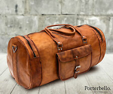 Large Tan Brown Handmade Leather Holdall Duffle Gym Travel Weekend Bag RRP £105