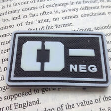 GLOWING Military Blood Type O- Negative Tactical US Army PVC RUBBER Patch