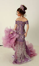 """20"""" Lady Doll in Purple Evening Gown with Feather Boa"""