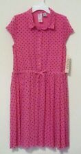 NEW GUESS LOS ANGELES Girls' Buttoned Lined Cap Sleeve Dress PINK/ Black Dots 10