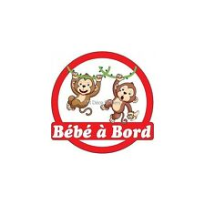 Decal Sticker vehicle car Baby à bord Monkeys 16x16cm ref 3575