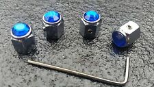 Blue car tire Dust Caps Valve Locking Antitheft Mini Fiat VW Audi BMW Merc ford