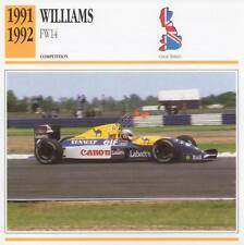 1991-1992 WILLIAMS FW14 Racing Classic Car Photo/Info Maxi Card