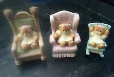 Set of 3 Lucy and Me Papa Bear Mama Bear Baby Bear Enesco Signed LUCY RIGG 1989