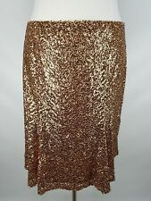CUTE LANE BRYANT WOMEN'S ELASTIC WAIST COPPER SEQUIN LINED MIDI SKIRT PLUS Sz 16