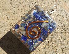 Pendentif en cristal de guérison orgone ~ Naturel Lapis gemstone jetons ~ spirale de cuivre