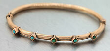 Ladies Antique Victorian 14K 585 Rose Gold Turquoise Bangle Bracelet
