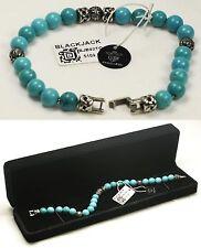 "$109 BLACKJACK 9"" 00BJB92OTQ 8mm Genuine Turquoise Bead Bracelet NWT"