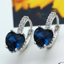 Silver CZ Crystal Heart Blue Topaz Stud Hoop Drop Earrings Jewelry