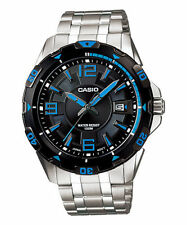 Casio Men's Stainless Steel Black Dial Watch, 100 Meter WR, Date, MTD1065D-1A