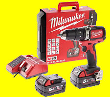 TRAPANO AVVITATORE A BATTERIA MILWAUKEE M18 BLPD-502X 2 BATTERIE 18V 5.0AH LITIO
