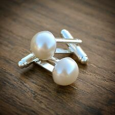 Pearl Cufflinks - Birthday Gift Wife Girlfriend Mum Wedding Ladies Womens Mens