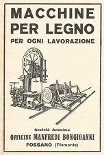Z2403 Macchine lavorazione legno BONGIOANNI - Fossano - Pubblicità 1929 - Advert