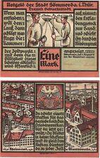 Allemagne 1 mark 1921 notgeld sommer au-unc banknote soldats-champ de tir