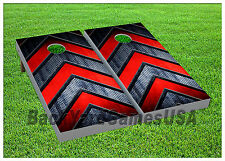 Cornhole Boards BEANBAG TOSS GAME Red Silver Arrow Pattern w Bags Set