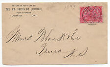 1897 Canada Cover w/ Nicely Centered 3 cent Jubilee Stamp to Nova Scotia