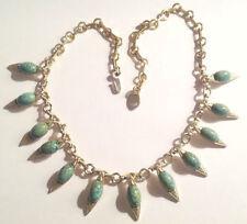 collier ancien métal léger couleur or cabochon turquoise véritable 4951