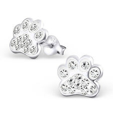 Dog Paw Print Clear Crystal .925 Sterling Silver Stud Post Earrings