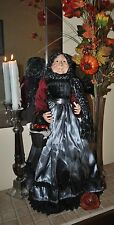 NEW GRAND WITCH doll Halloween REAL FACE Apple Basket  Unique Standing 23""