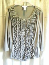 Doncaster Shirt Stretch Knit Taupe Ruffle Front NWT Sz L 3/4 Sleeves Scoop Neck