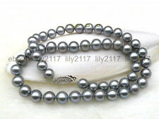 """Genuine natural 9-10mm AAA+ round gray pearl necklace 14k white gold clasp 18"""""""