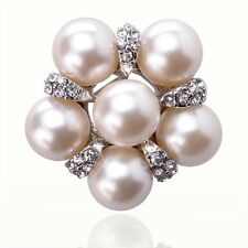 14K White Gold Filled Women Austrian Crystal Big Pearl Brooch Pin Jewelry D838